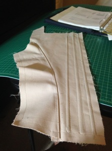 Side back, and left back of corset.  Boning added.