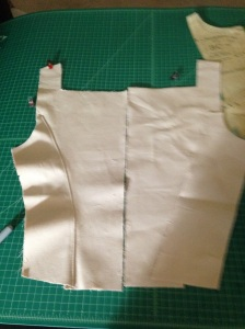 Back of corset, right side seam added.